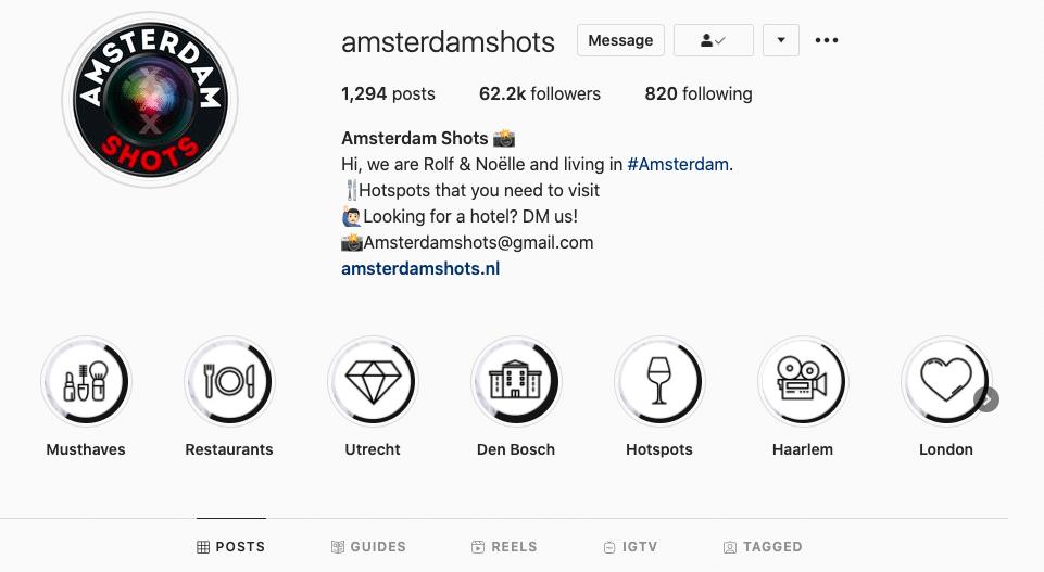 Instagram gids voorbeeld
